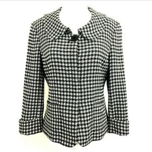 Ellen Tracy Retro Style Jacket Embroidered Check